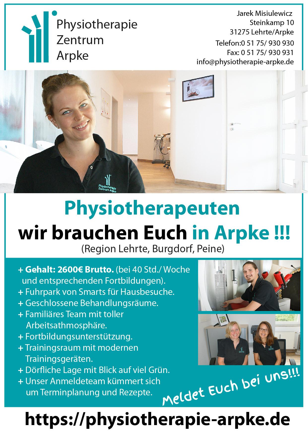 Stellenausschreibung: Physiotherapeuten, wir brauchen Euch in Arpke !!!